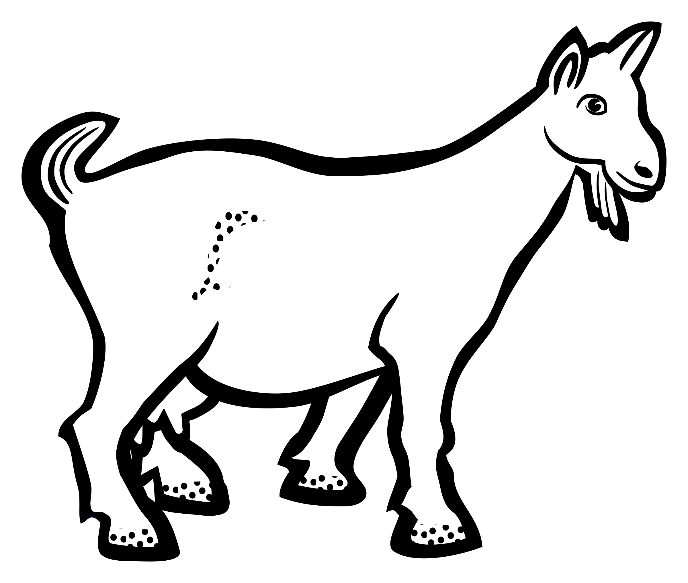 goat black and white outline clipart best