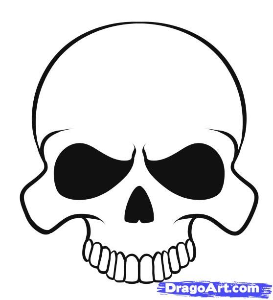how to draw a skull and crossbones easy