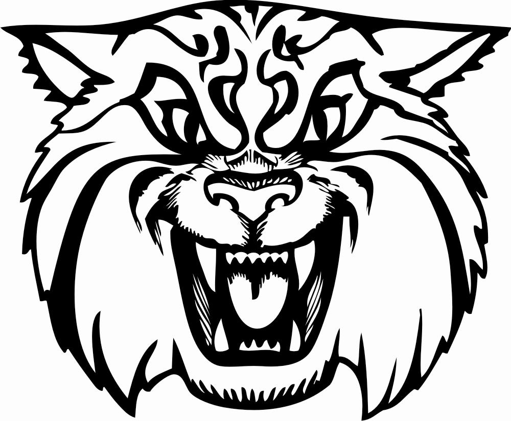 Wildcat logo clipart black and white
