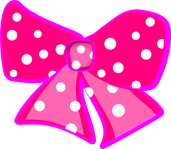 Pink Polka Dot Bow clip art - vector clip art online, royalty free ...