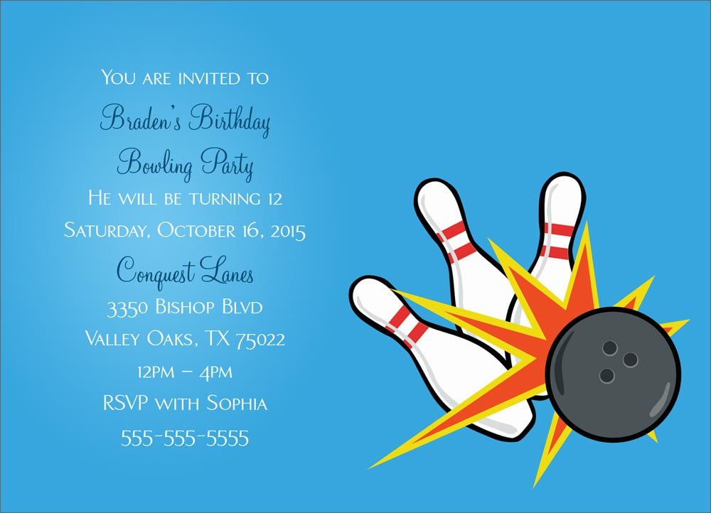 Bowling Party Invitation - Birthday Invitations from ...