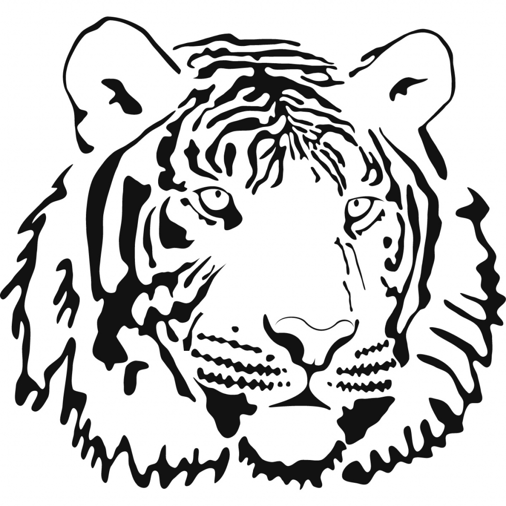 Tiger Line Drawing Easy : Tiger outline drawing clipart best