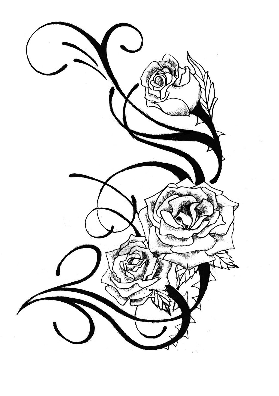 rose tattoo stencils clipart best