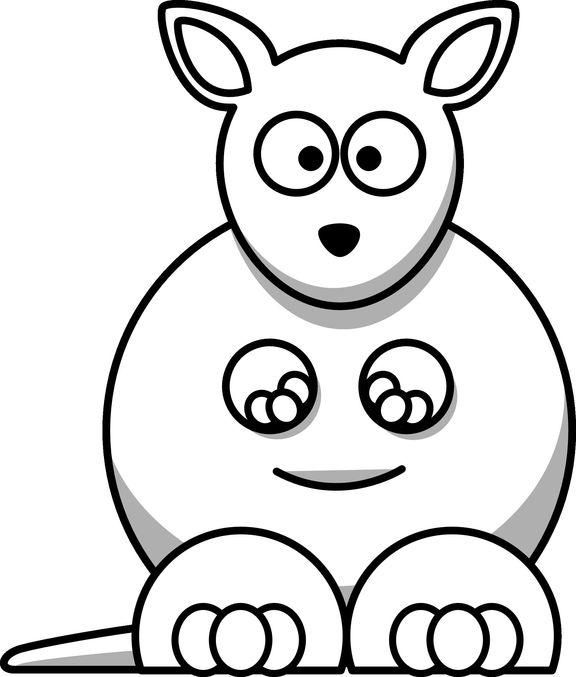 lemmling cartoon kangaroo black white line art ...