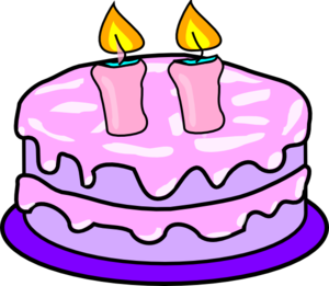 Cake With 2 Candles clip art - vector clip art online, royalty ...