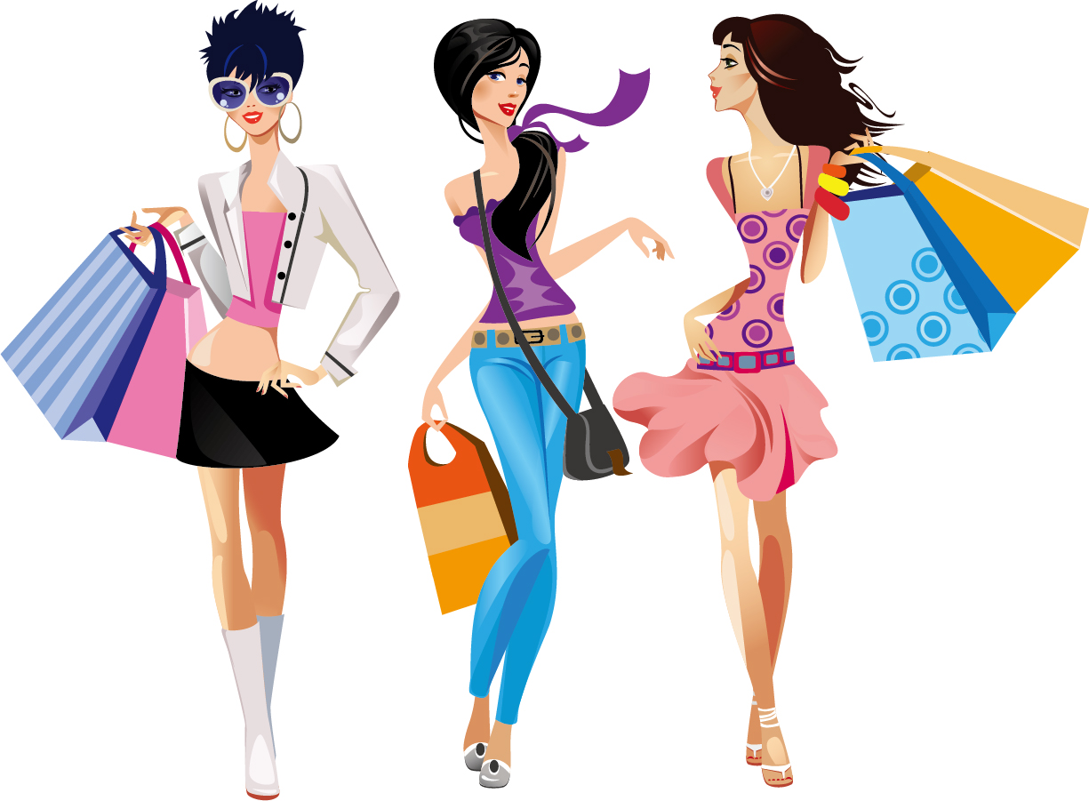 fashion cartoon girl clipart best shopping clipart images shipping clip art free