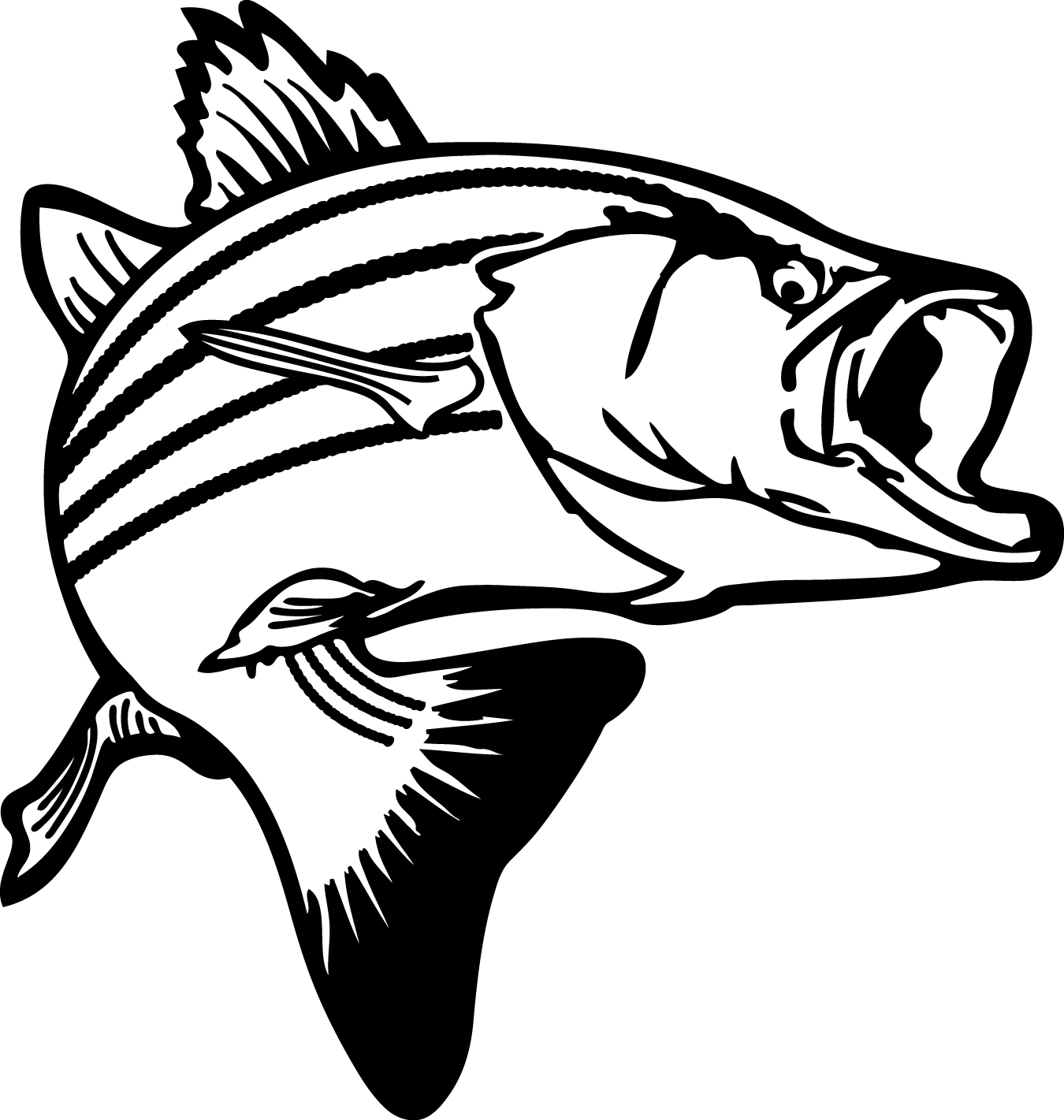 Fish Clip Art Black And White | Coloring Pages