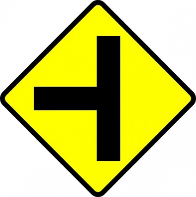 Caution T Junction Road Sign Clip Art 422013 Images 1 Vector ...
