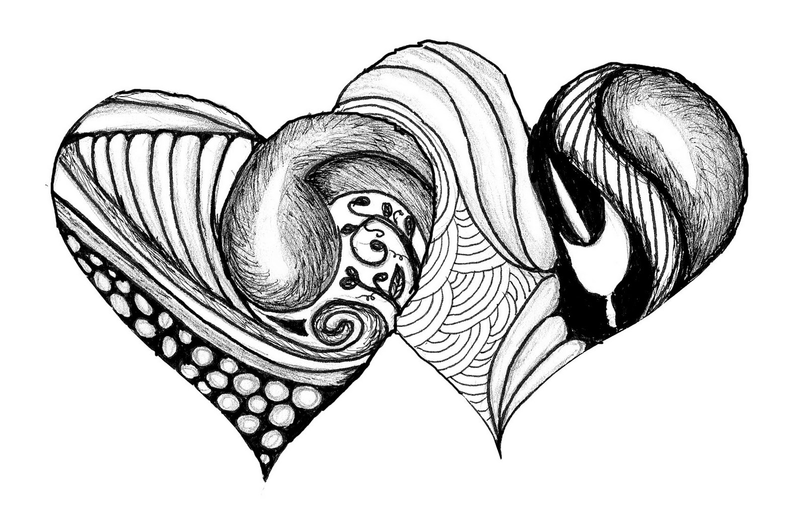 Black And White Drawings Of Hearts - ClipArt Best