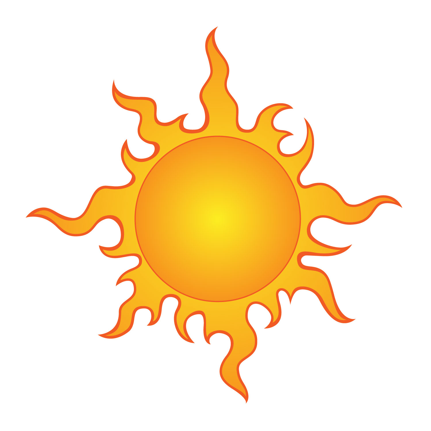 Sun Simple Drawing Simple Sun Motif Clip Art