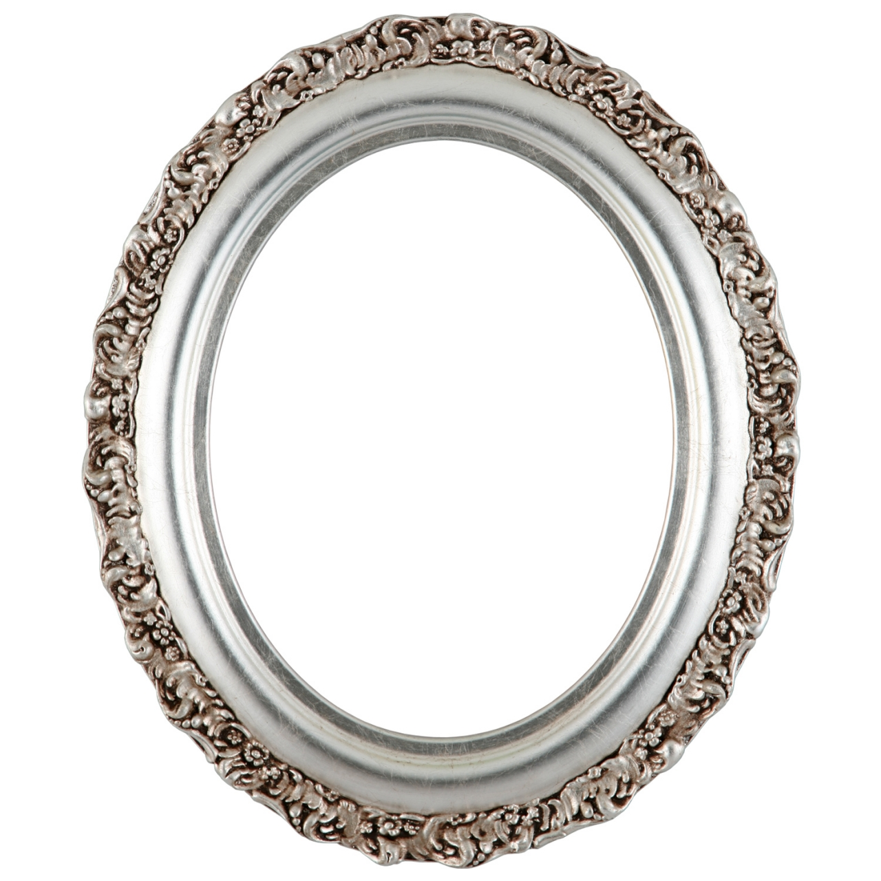 454 oval frame silver leaf with brown antique inline ovals