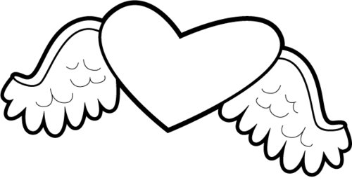 Easy drawings of hearts with wings clipart best for Heart with wings coloring pages