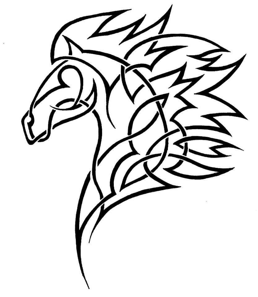 Line Drawing Horse Tattoo : Horse head coloring pages clipart best