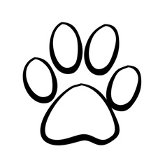 Dog paw prints and bones stencil clipart