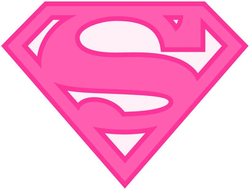 Pink Girl Superman Superwoman Halloween or Everyday Logo Iron on ...