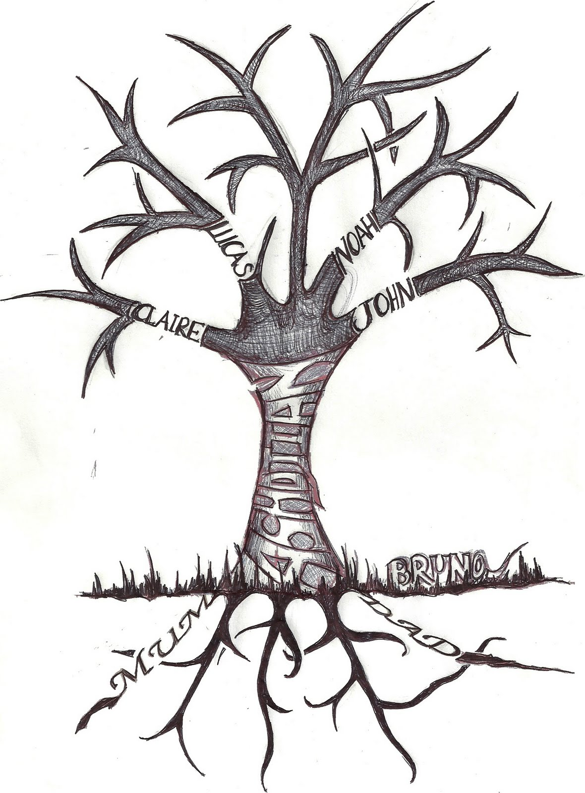 Line Art Name : Tree drawings with roots clipart best