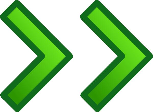 Green Right Double Arrows Set clip art  vector clip art online