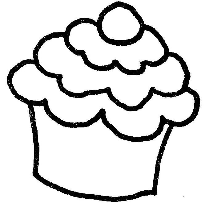 Line Drawing Cake : Drawing cupcake clipart best