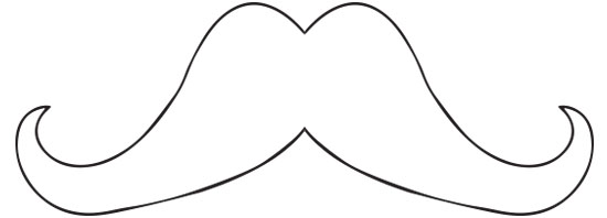 French Mustache Template Cut Out Mustache Template