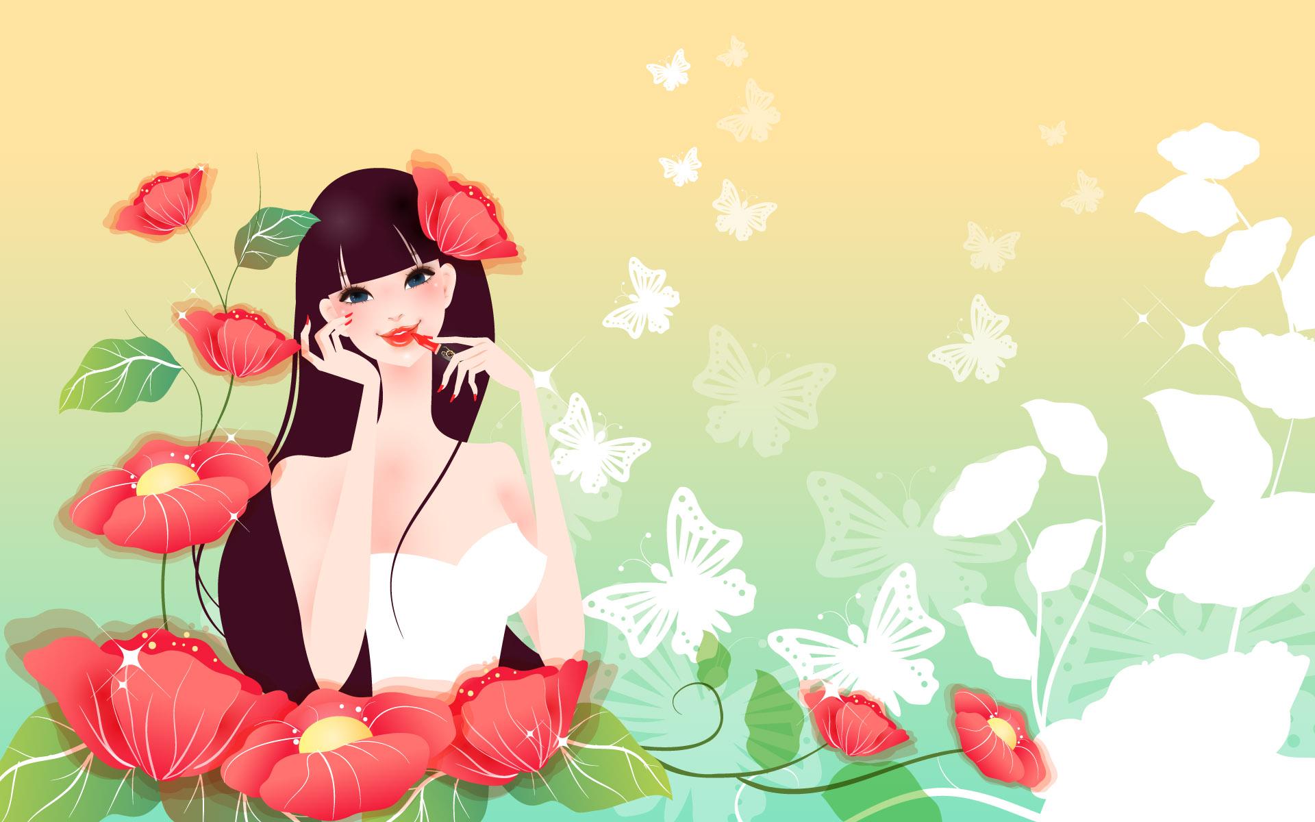 Девушка с цветами открытка