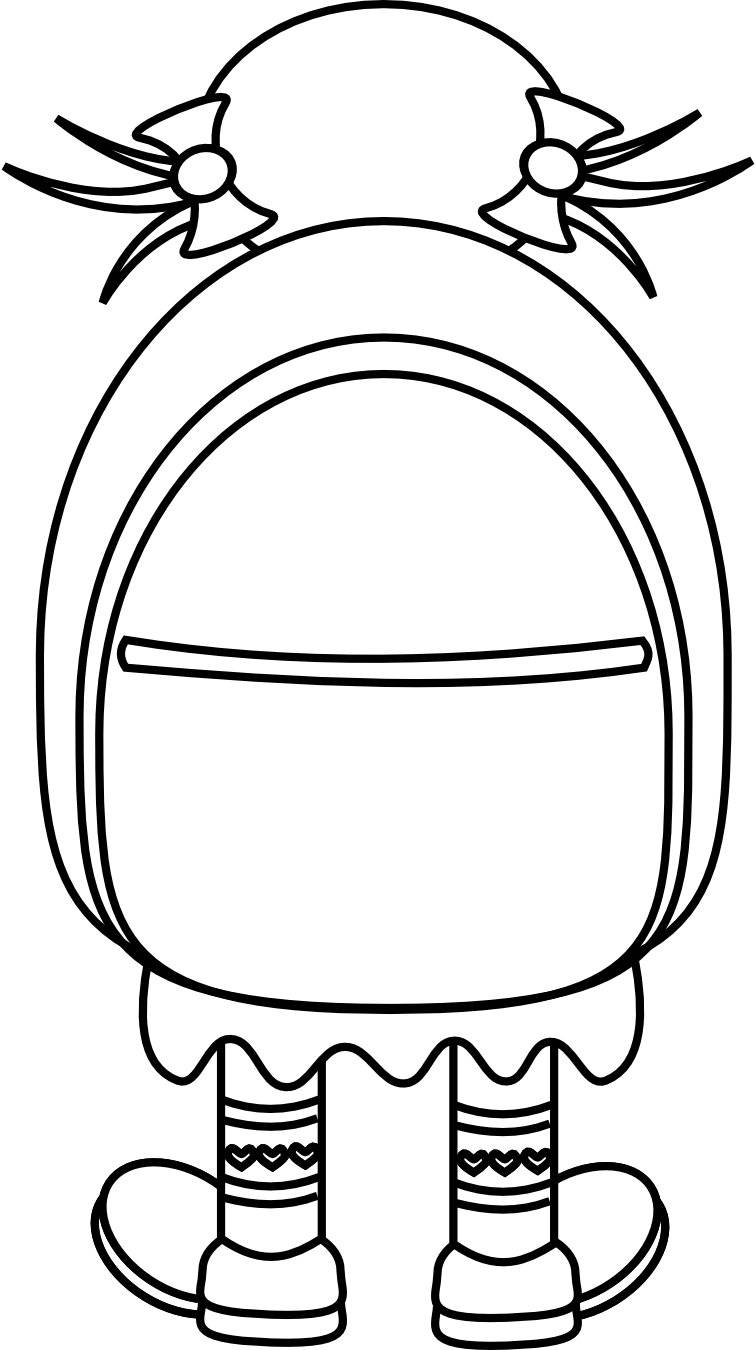 Clip Art Backpack Coloring Pages backpack coloring page clipart best pictures of dora coloring