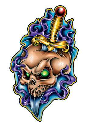 Knife and Skull Tattoo Designs