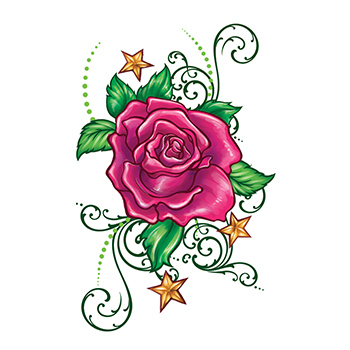 Flirty Rose with Stars Temporary Tattoo - USimprints