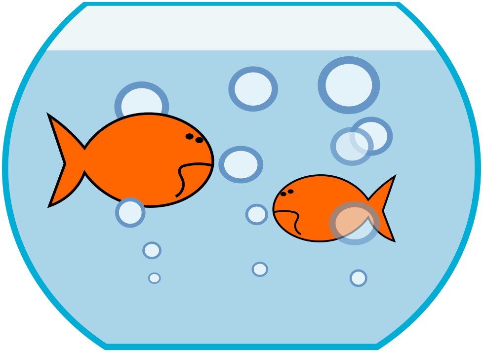 Happy fish eating fish food in a fish bowl clipart