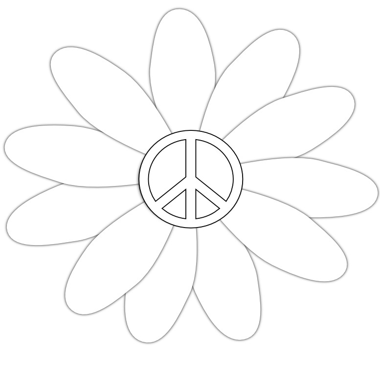 Peace Sign Clipart Black And White Peace Sign Flower 15 Black