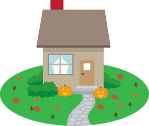 Jack O Lantern Clipart Image - House in the country with jack o ...