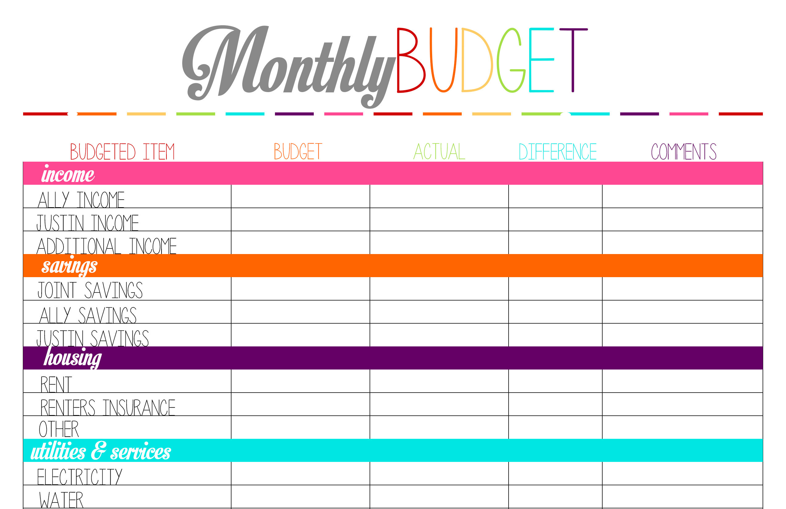 Free Printable Tuesday: Budget Planning Worksheets | Ally Jean ...