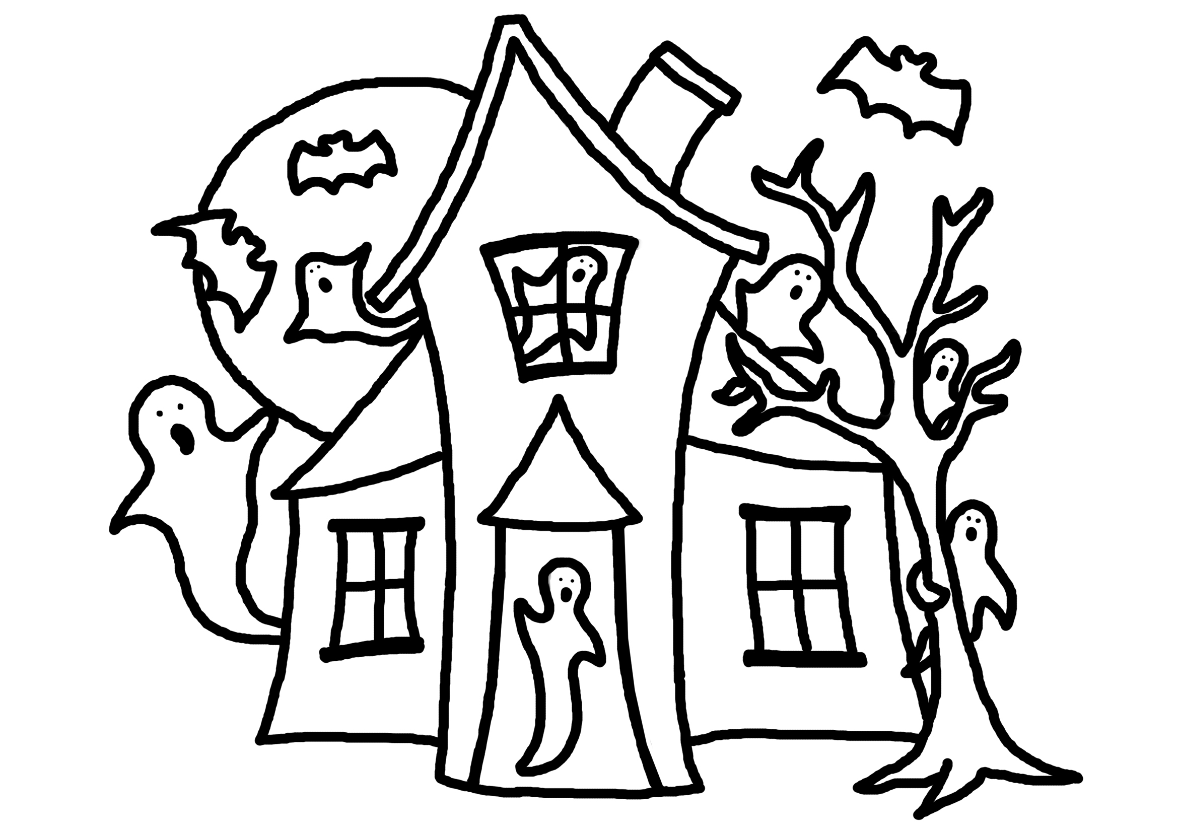 Line drawing house clipart best for Coloring pages of haunted houses