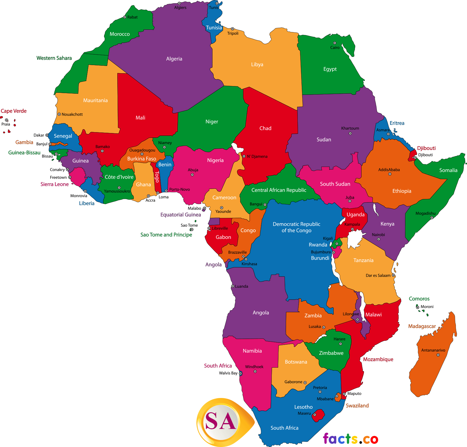 South Africa Map - Political South Africa map outline/blank