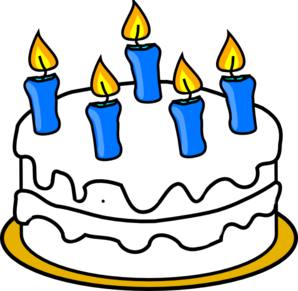 Birthday Cake With Blue Lit Candles clip art - vector clip art ...