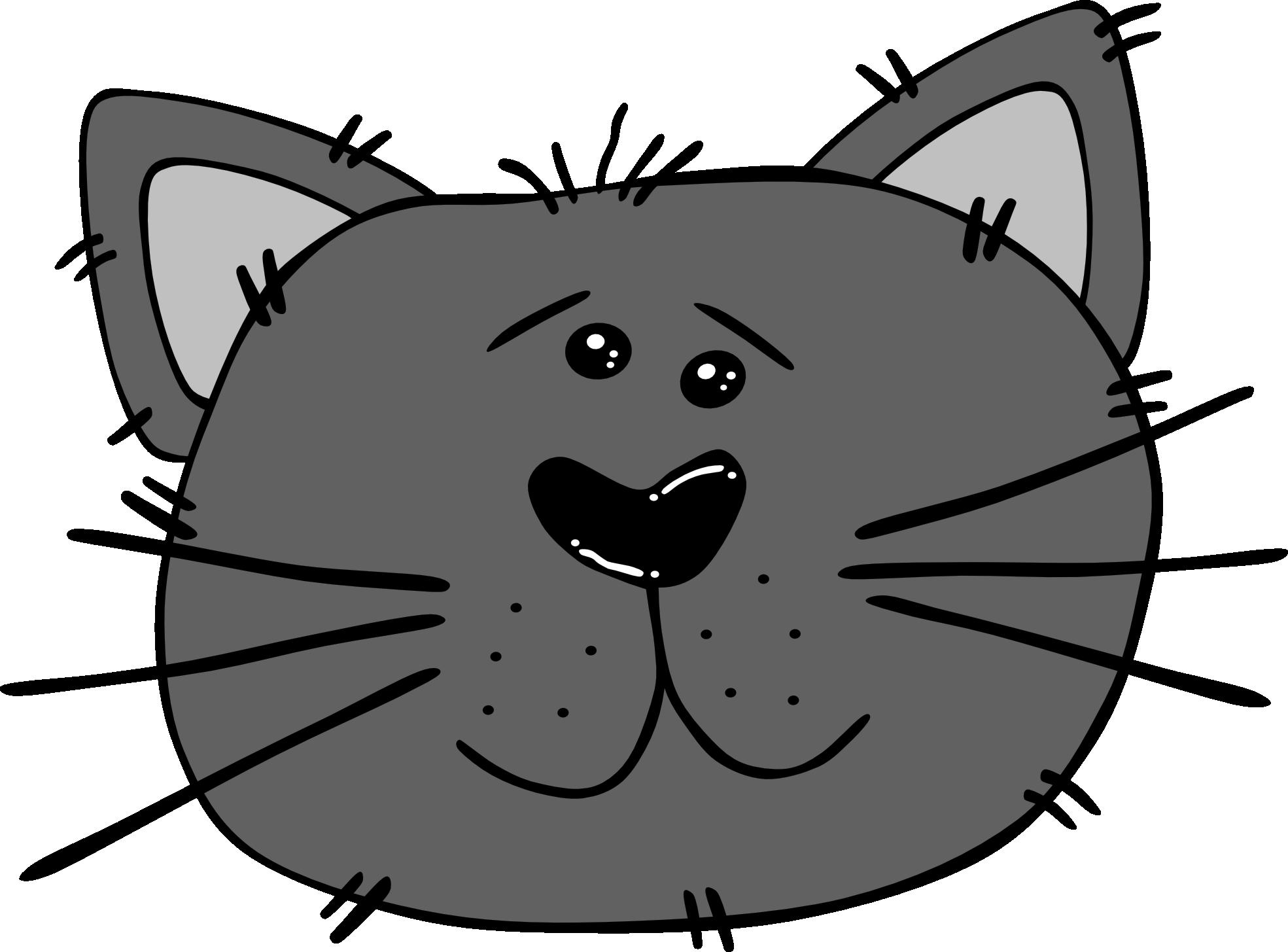 Line Drawing Of Cat Face : Cartoon cat face black white line art svg clipart best