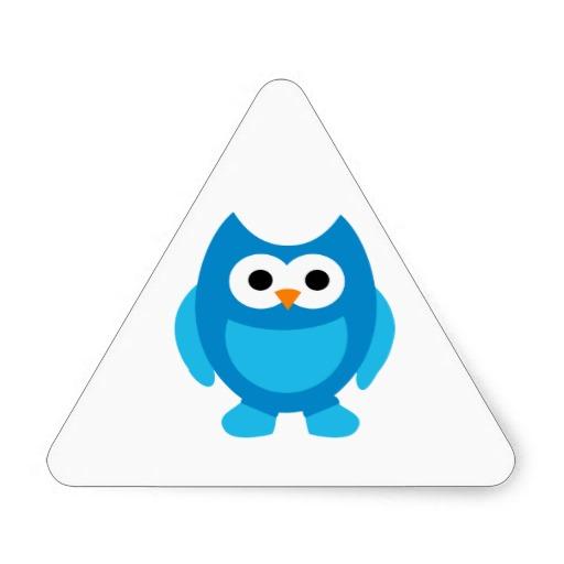 Owl Owls Bird Birds Blue Cute Cartoon Animal Triangle ...