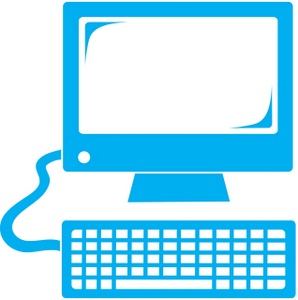 Computer Clipart Image - Blue Computer Monitor And Keyboard