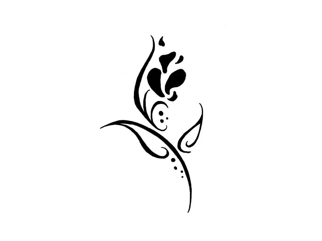 Simple flower tattoos designs clipart best for Simple black and white drawing ideas