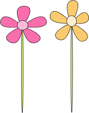 pink flower with stem clipart | Logo More