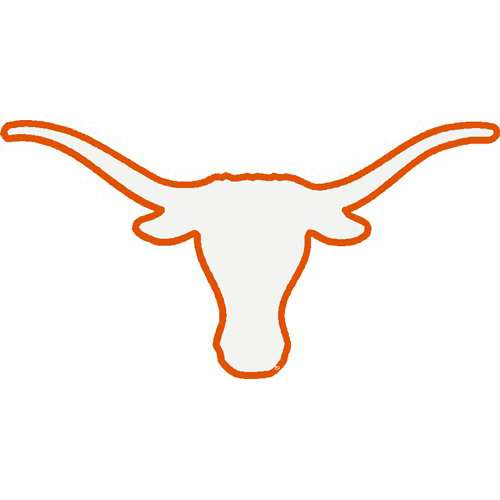 Texas Longhorns Transfer Decal - Longhorns Logo White with Orange ...