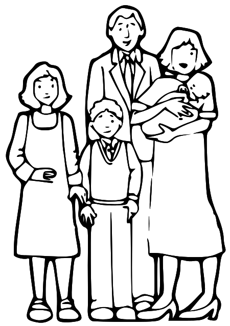 family praying clipart black and white - 450×638