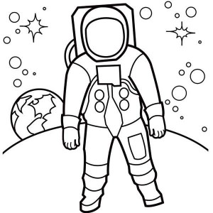Astronaut line drawing clipart best