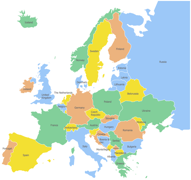 Simple Map Of Europe Countries ClipArt Best
