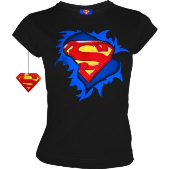 superman supergirl retro comic damen t shirt torn logo schwarz gr xl. Black Bedroom Furniture Sets. Home Design Ideas