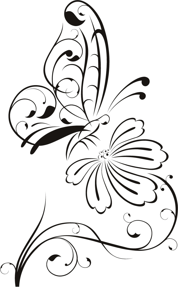 Drawing Of Butterfly And Flower - ClipArt Best