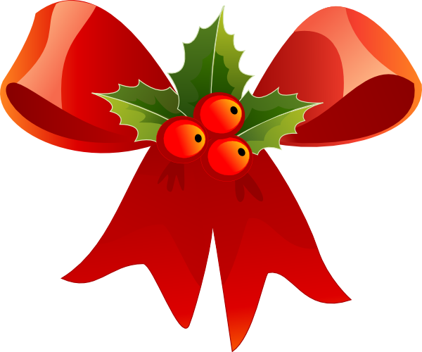 Christmas Bow With Holly clip art - vector clip art online ...