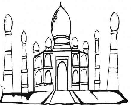 Taj mahal cartoon clipart best for Taj mahal coloring page