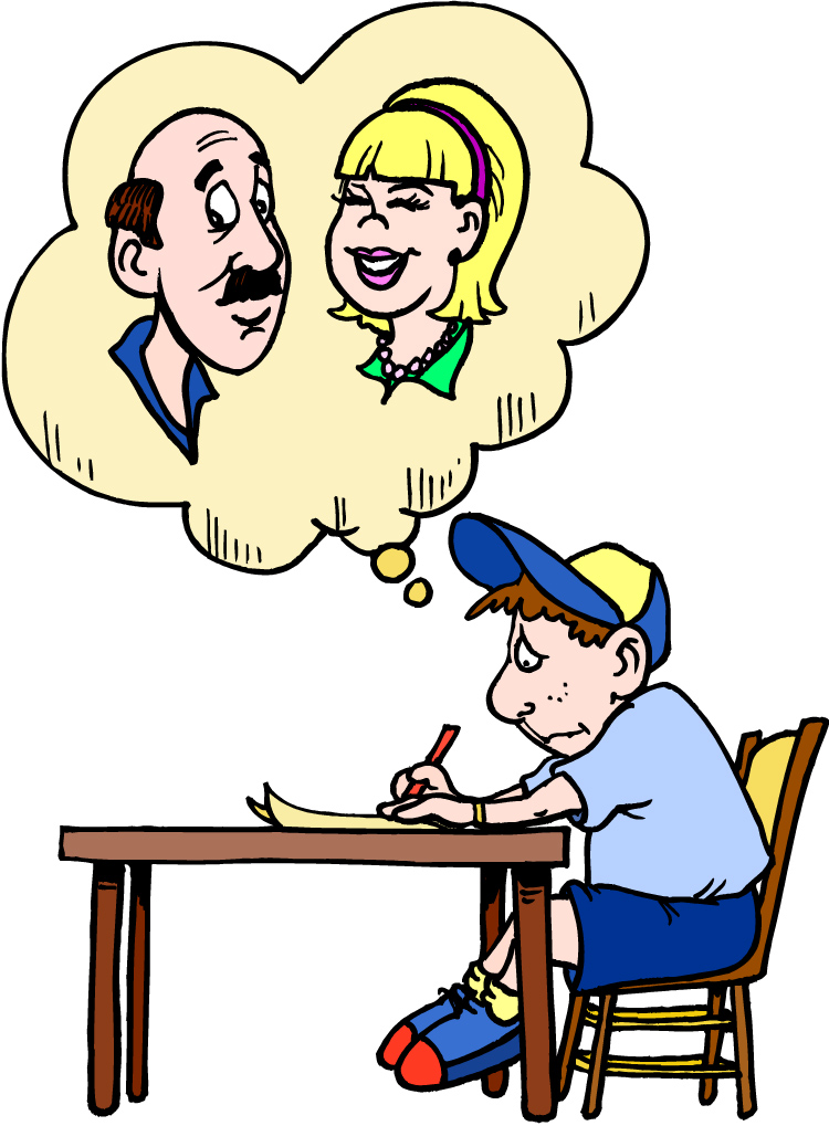 Boy Writing A Letter Clipart