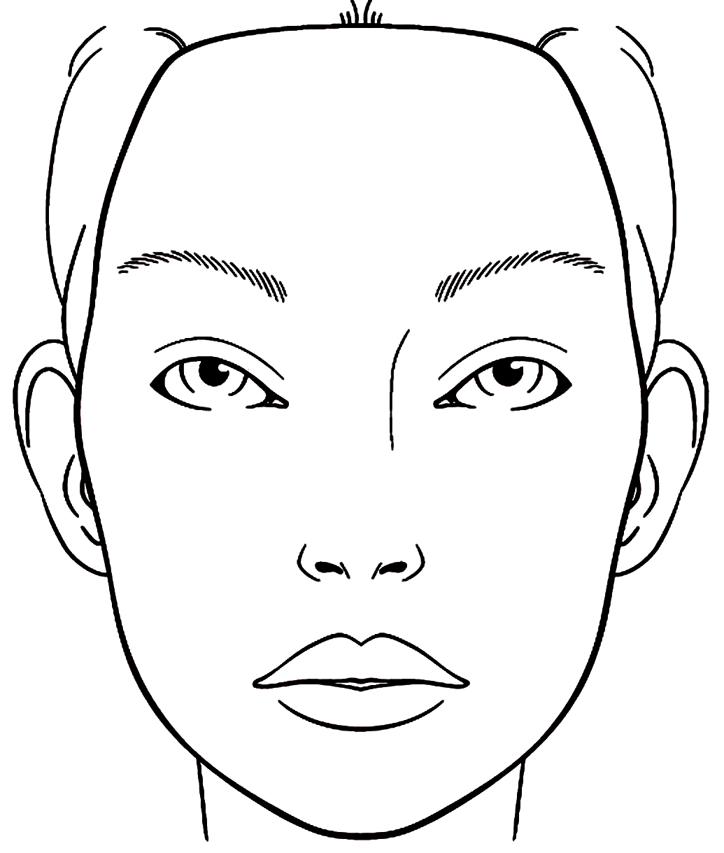 blank female face template - photo #30