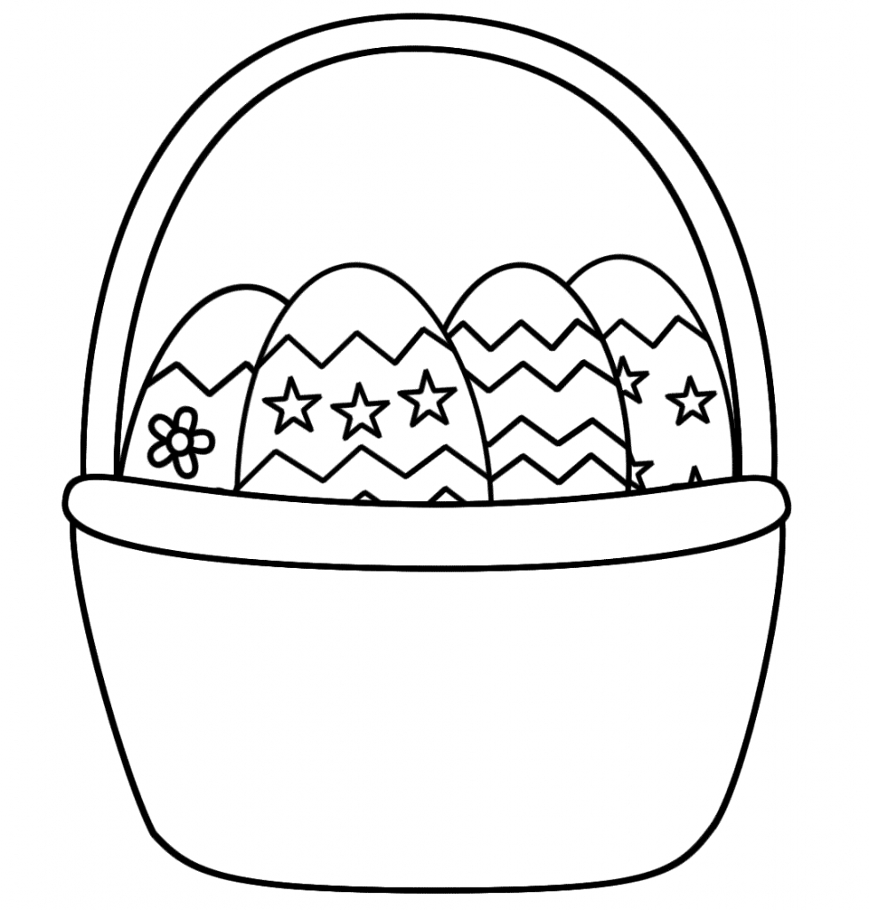 Easter basket drawing clipart best for Basket coloring pages